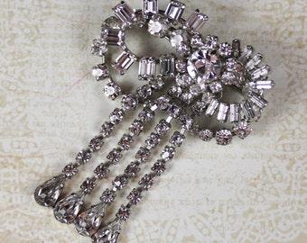 Vintage Silver Rhinestone Dangling Bow Brooch
