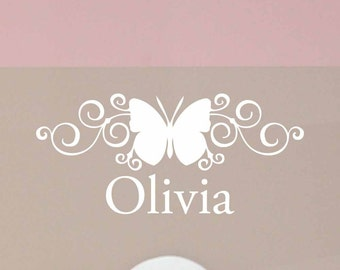 Butterfly name decal, Butterfly wall decal, Personalized Name decal, Custom girls room decor, Scroll wall decor, vinyl lettering LL0429
