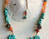 Chunky Turquoise Howlite and Orange Agate Necklace - Carnelian - Copper - Healing Stones - Boho Necklace