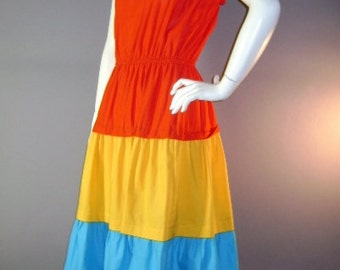 70s dress 1970s vintage FIESTA COLOR BLOCK Red Yellow Turquoise blue cotton full skirt sun dress