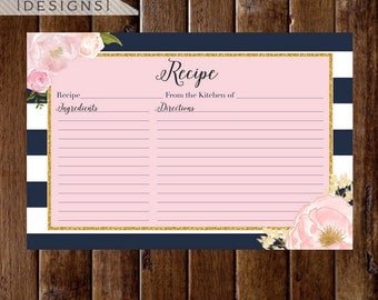 Pink Watercolor Roses Recipe Card, Watercolor Card, Navy and White Stripes, Navy and Pink Recipe Card, Bridal Shower Recipe Card