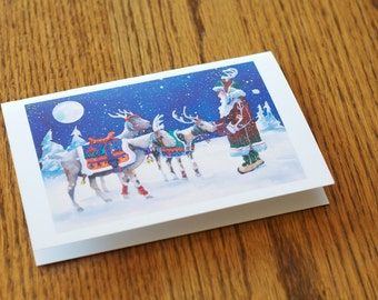 Reindeer Goats Christmas Card, Animal Christmas card, Holiday cards, unique colorful card, green card, recycled paper