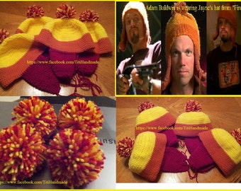 Hand Crochet Jayne's Hat / Firefly Fans / Hand Knit Earflap Hat with Pom Pom / Cosplay Convention Comic Con / Made to order in any size