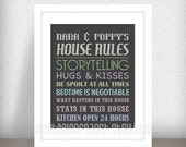 Nana and Poppy Christmas Gift - Grandparents House Rules - Grandparents Print  - Gifts from Grandchildren - Instant download - Jpeg File