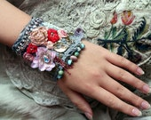 Spring petals-  romantic shabby chic wrist cuff -antique laces,  hand  beaded