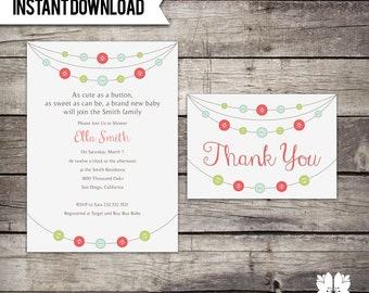 INSTANT DOWNLOAD Cute as a Button Baby Shower Invitation Set