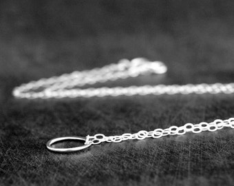 Tiny Silver Circle Necklace, Sweet and Simple Delicate Circle Necklace