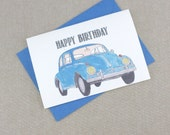 Happy Birthday Card. Vintage blue Volkswagen Beetle that you can personalise with your words.