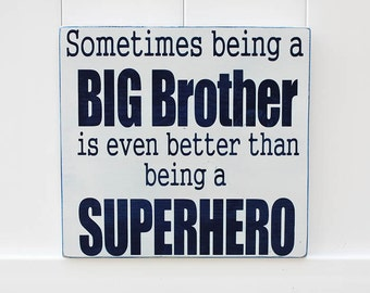 Big Brother Superhero // Hand-Painted Wooden Sign // Typography // Kid Wall Art // Brother Signs // Big Brother // Sibling Announcement Sign