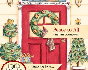 Peace to All Digital Art Print 8x10 Christian Christmas Printable Red Door Wreath Ready to Frame Cardmaking Crafts INSTANT DOWNLOAD