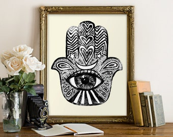 Magical Hamsa - 8x10 inches on A4. Magical Protective Talisman, good luck charm, totem, blessings, love.