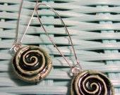 Small Ceramic SPIRAL earrings glazed in Ocean Mist