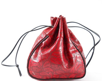 Vintage Drawstring Purse •  Tooled Red Vinyl Pouch