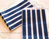 Navy Paper Bags, 20 Vertical Striped Treat Bags, Navy Paper Bags, Party Favor Bags, Navy Candy Bags, Nautical Party Favor Bag, Baby Showers