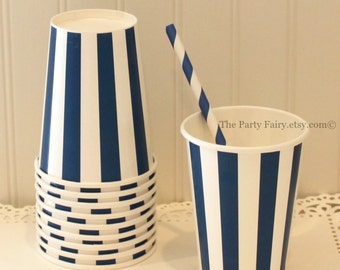 Paper Cups, 10 Navy Vertical Striped Paper Cups, Navy Paper Cups, Paper Drink Cups, Party Paper Cups, Candy Cups, Popcorn Cup, Ice Cream Cup