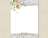 Joy Blooms Here Notepad in Dalmation Pattern with Gold Effect Color Accents - By A Blissful Nest