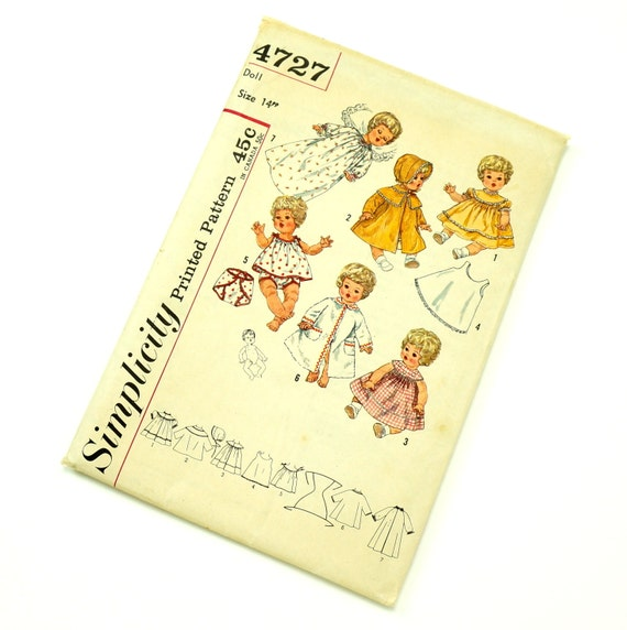 """Vintage 1950s 14"""" Doll Wardrobe for Betsy Wetsy, Carrie Cries, Sweetie Pie and Tiny Tears Simplicity Sewing Pattern 4727 / Complete Uncut"""
