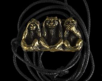 The Three Monkeys Brass pendant, Brass pendant, Charm pendant, Ethnic pendant, Tribal pendant, three monkeys , yoga jewellery, Tribu.