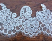 Chantilly lace with eyelashes and scalloped edge Re-embroidered lace for sewing and craft  projects bridal dresses and wedding projects
