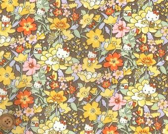 Liberty Tana Lawn Fabric - Liberty Japan Limited, Kirstie Hello Kitty, Liberty Print Cotton Scrap, Kawaii Patchwork Quilt Fabric, ntkitty25f