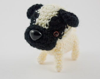 Pug Carlin dog puppy crochet amigurumi plush toy