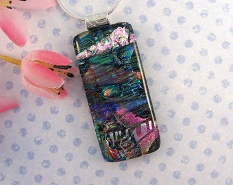 Blue, Silver, and Pink Fused Dichroic Glass Pendant - Fused Glass Jewelry - Fused Glass Necklace - 74-14