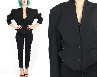 SALE Thierry Mugler Jacket 80s Vintage Designer Black Wool Blazer Peplum Jacket High Fashion Futuristic Avant Garde Fetish Goth Blazer (M/L)