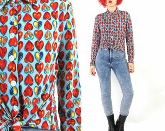 90s Heart Print Blouse Club Kid Long Sleeve Shirt Op Art Graphic Baby Blue Red Stained Glass Hearts Colorful Slinky Collared Top  (S/M/L)