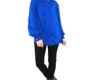 80s Blue Silk Shirt Cobalt Blue Blouse Long Sleeve Button Down Shirt Solid Minimalist Top Slouchy Oversize Secretary Blouse (L)