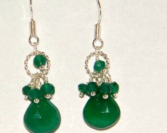 Green onyx earrings, sterling silver cluster earrings, green earrings