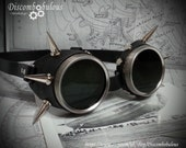 Steampunk Spiked Goggles Silver & Black Leather - The Commander, Dieselpunk, Adventurer, Time Traveller, Studs, Airship, Kraken, Burning Man