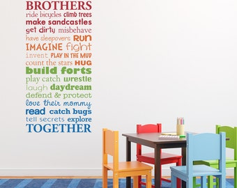 Brothers Together Wall Decal - Brother Decal Bedroom Sticker - Multiple Color Version - Medium