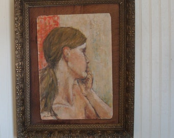 contemplation, original acrylic  ,female, portrait,  coral pink Victorian gold gesso frame/ home decor