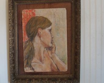 contemplation, original acrylic  ,female, portrait,  coral pink Victorian gold gesso frame/ home decor
