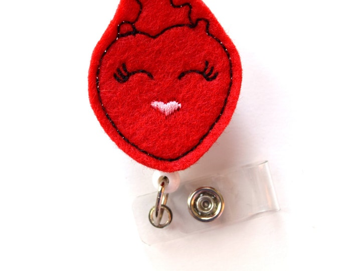 Happy Heart - Nurses Badge Holder - Cardiac Care Nurse Badge Clip - Medical Badge Pull - Heart Badge - Teacher Badge - RN - Cardiologist ID