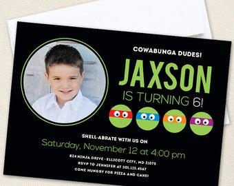 Turtles Birthday Party Photo Invitations - Professionally printed *or* DIY printable