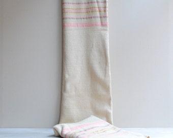 Vintage Pink Striped White Wool Blanket