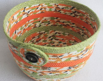 Rope Coiled Basket / Bowl / Pot / Orange Green Brown Striped Extra Large Round by PrairieThreads
