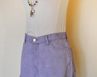 """Lilac 30"""" Waist Denim SHORTS - Hand Dyed Violet Lavender Urban High Waist Denim Calvin Klein Vintage Shorts - Adult Womens Size 6 (30 Waist)"""