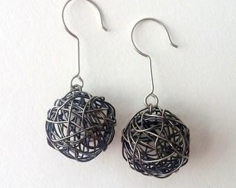 Oxidized Sterling Silver Wire Ball Drop Earrings