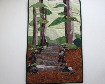 "Contemporary Art Quilt "" Into The Woods"""