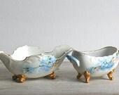 Bowls, Porcelain Antique Sugar Bowl Candy Dish PH Leonard Vienna Austria Porcelain Set Bowls Forget Me Nots Gold Footed
