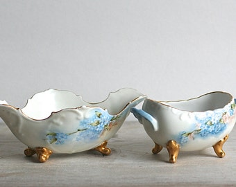 Bowls, Porcelain Antique Sugar Bowl Candy Dish PH Leonard Vienna Austria Porcelain Set Bowls Forget Me Nots Gold Footed