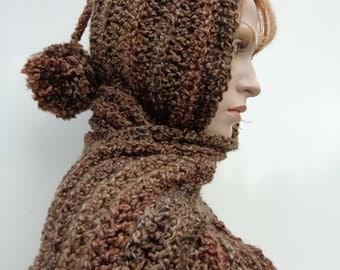 Browns Hooded Scarf - Barley Brown Scoodie - Barley Browns Pixie Hood - Browns Hat and Scarf - Crochet Hooded Scarf