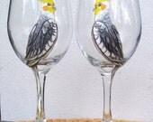 Custom Order for Ali 1 Cockatiel, 1 Sun Conure Pet Bird  Wine Glass Hand Painted