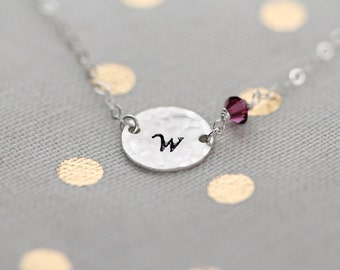 Sterling Silver Initial Birthstone Necklace, Birthstone Initial Disc, Hammered, Personalized Crystal