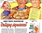 1952 Howdy Doody Kellogg's Rice Krispies Cereal & Pan American Coffee - Print Poster Advertisement Bureau Dining Kitchen Wall Art Home Decor