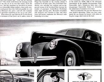 1939 Mercury 8 Classic Car Advertisement 1940 Model Automobile Automotive Antique Mechanic Shop Garage Nostalgic Wall Hanging Art Home Decor