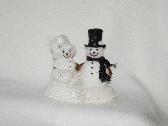 Mr And Mrs Snowman Cake Topper