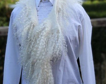 Felt Fur  Curly Scarf  White Hand Felted  Pure Real Wool Fleece Wensleydale by Galafilc Organic and Cruelty Free